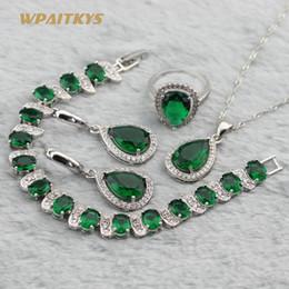 Green Women Wedding Jewelry Sets - Wholesale Water Drop AAA Zircon Silver Plated Necklace Earrings Ring Bracelet For Women Rings Size 6-10