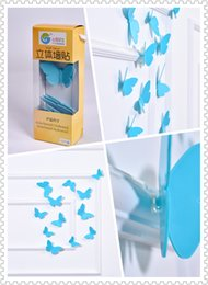 (Promotion: Buy 1 get 1 free)Buterfly 3D Wall Stickers Blue color(12pcs box)