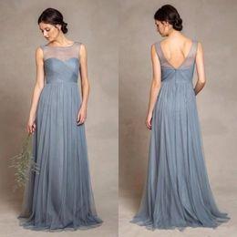 Dusty Grey Tulle Bridesmaid Dresses 2018 Illusion Scoop Neckline Pleats Bodice A Line Floor Length Elegant Women Wedding Party Dress BA4433