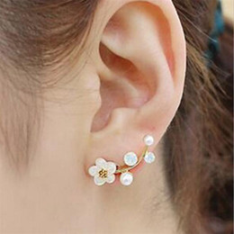 New Fashion Silver Gold Color Crystal Earrings For Women Pearl Branch Shell Pearl Flower Stud Earrings Patry Jewelry