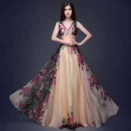 European and American elegant double shoulder flower dress dress gown