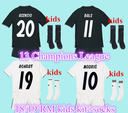 2019 Real madrid kids soccer Jersey 17 18 19 RONALDO home away black ASENSIO BALE RAMOS ISCO KROOS MODRIC Champions League patches shirts