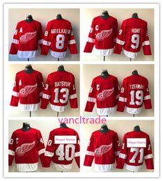 2018 Detroit Red Wings 71 Hockey Jersey 8 Justin Abdelkader 9 Gordie Howe 40 Henrik 19 Steve Yzerman 13 Pavel Datsyuk Jersey