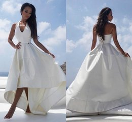 ed0f77b06766 Elegant High Low Halter Wedding Dresses Beach Said Mhamad African Satin  Hi-Lo Vestido de novia Bridal Gown Bride Ball Plus Size Arabic