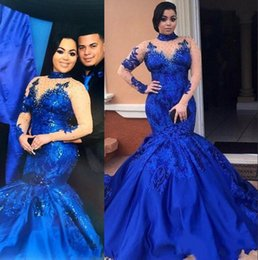 Saudi Arabia Royal Blue Prom Dresses High Neck Nude Mesh Plus Size Long Sleeves Evening Gowns Satin Mermaid Forma Women Party Wear