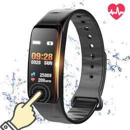 C1S Bluetooth Smart Wristband Band Blood Pressure & Heart Rate Monitor Waterproof Fitness Bracelet Sleep Tracker for Sports Health