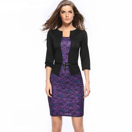 2018 European station new seven minute sleeve dress fake two professional lace, lace, buttocks and pencil skirts