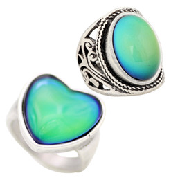 2 PCS Set Mood Heart Glass Stone Ring Antique Silver Plated Color Change Ring Jewelry RS019-056