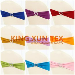 Wholesale Price Lycra Spandex Chair Sash \ Chair Band With Heart Buckle For Wedding Decoration