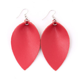 Creative Jewelry Water Drops Leaves First Layer Cowhide Color Earrings Earrings Domestic Sales Personality Leaf Multicolor Earrings