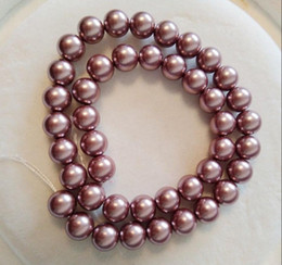 18inch 8MM purple SOUTH SEA SHELL PEARL NECKLACE 14K YELLOW GOLD CLASP