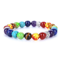 Design Men Bracelets & Bangles 7 Chakra Healing Balance Beads Bracelet For Men Women Reiki Prayer Stones Jewelry