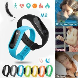 M2 Bluetooth Smartband Wristband IP67 Waterproof Pedometer Fitness Tracker Heart Rate Monitor for iPhone IOS Android phones Smart Bracelet