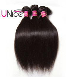 UNice Hair Virgin Brazilian 3 Bundles Straight Human Hair Bundles Peruvian Indian Malaysian Hair Weaves Cheap Silk Nice Wholesale Bulk