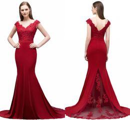 Elegant Long Formal Dresses for Women 2019 Lace Off Shoulder Appliqued Beaded Mermaid Sweep Train Bridesmaid Dresses V Cut Back CPS796