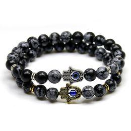 New Products 8mm Black Snowflake Stone Beads Buddha Palm Hand Bracelet, Yoga Meditation Energy Jewelry For Women and Men