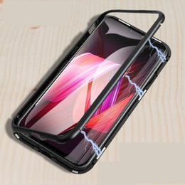 Magnetic Adsorption Metal Phone Case for IPhone XS MAX XR XS 6 6s PLUS 7 8 Plus Full Coverage Frame with Tempered Glass 30PCS LOT