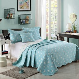 Hanxiangyiren Cotton Quilt Set 3PCS Quality Bedding Quilts Quilted Bedspread bed Cover King Queen Size Coverlet Set Champagne Blue Pink