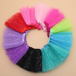 2018 Summer Kids Baby Star Glitter Dance Tutu Skirt For Girl Sequin 3 Layers Tulle Toddler Lace Pettiskirt Children Chiffon 2-8T