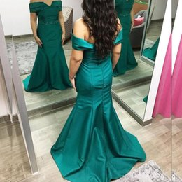 Teal Bridesmaid Dresses Mermaid Off the Shoulder Beaded Belt Long Formal Bridesmaids Dresses for Wedding Party Custom Made High Quality