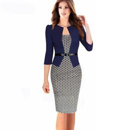 2018 fall women's dress European stamp Plaid Dress fake two pieces   set of professional skirt package buttocks skirt pencil skirt + belt