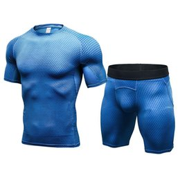New Mens Compression Muscle Men Tracksuit Demix Running Set Fitness Tight T-shirt Legging Shorts Men's Sportswear Gym Sport Suit
