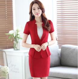 New Women Summer Work Elegant Short Sleeve Suit with Skirt Ladies dress Uniforms Slim Blazers suits DK852F