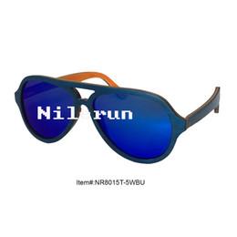 light thin pilot style mirror blue polarized lens blue skateboard wood sunglasses
