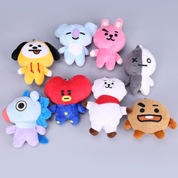"Hot Sale 8 Style 4"" 10cm Cartoon BTS BT21 Bangtan Boys Plush Doll Stuffed Pendant Keychain Toy For Child Best Gifts"
