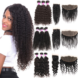 Brazilian Virgin Kinky Curly Human Hair Bundles With Closure Unprocessed Water Deep Wave Bundles With Lace Frontal Ramy Hair Extensions