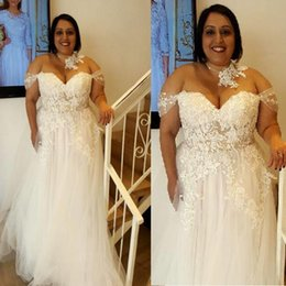 Plus Size Wedding Dresses Off Shoulder A-line Tulle Lace Appliqued Sexy Illusion See Through Big Women Cheap Summer Bridal Gowns