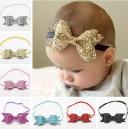 2016 baby sequin bows headbands girls boutique hair bows kids leather bow accessories children shiny elastic hairbands headwrap wholesale