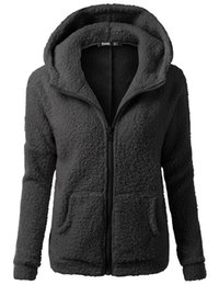 Classic casual style pure color cardigan fleece with hood super comfortable beautiful and warm on sales