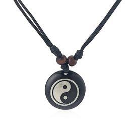 12pcs Black Faux Yak Bone Resin Yin Ying Yang Charms Pendant Necklace Adjustable