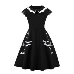 Large Size Clothing 2018 Women Cap Sleeve Bat Embroidery A Line Rockabilly Pin up Skater Swing Black Halloween Party dress
