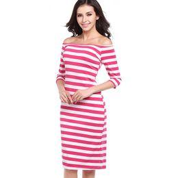 The 2018 summer European hot sexy Strapless stripe slim package hip dress pencil skirt ladies I-shaped collar seven sleeve skirt
