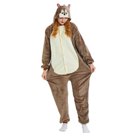 Chipmunk Animal Kigurumi Women and Men Flannel Onesie Costume for Halloween Carnival New Year Party welcome Drop Shipping