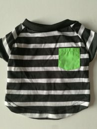 puppy lovely T shirts, fashion stripe print, classic style, one green pocket