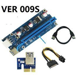 VER 009S VER009S PCI-E PCI Express Molex 6Pin to SATA 1X 16X Riser Card USB 3.0 Extender Adapter LED Mining 30SETS  LOT