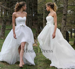 High Low Wedding Gowns Short Front Long Back Strapless Simple White Country Bride  Dresses with Bows Sashes Custom Made in China Discount 69283fdc964c