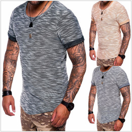 Spring and summer of spring and summer new pattern round collar pure color short sleeve men's T-shirt comfortable breathable fashion
