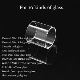 Pharaoh Mini RTA Cascade baby se 6.5ml 7ml Aero Mesh Zeus Dual DEJAVU DJV WASP NANO RDTA ELLO Duro Tank Replacement Pyrex Glass Tube