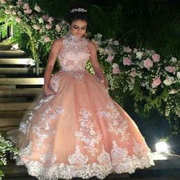 Sweet 16 Lace Champagne Quinceanera Prom Dresses 2019 vestido debutante 15 Ball Gown High Neck Sheer Prom Dress For Party