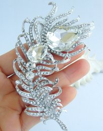 Gorgeous Bridal Peacock Feather Brooch Pin w Clear Rhinestone Crystals EE05038C1