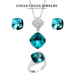 Woman Blue Crystal Jewelry Set White Gold Color Luxury Square Ring Earring Necklace Set Wholesale Perfect Gifts