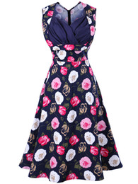 New Women Summer Sleeveless Dress Fashion Plus Size Cotton Flower Print Vintage Dress