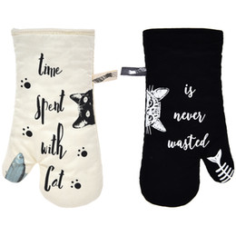 """Oven Mitts Heat Resistant Cooking Glove 100% Cotton Lining 12""""(Ivory and Black Cat,Potholder Kitchen Cat Gloves,Set of 2)"""