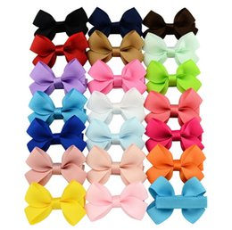 20 Colors Baby Girls Bows Clips Girls Cute Hairpins Grosgrain Ribbon Bows Hairgrips Children Solid Barrettes Kids Hair Accessories KFJ101