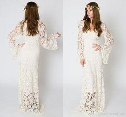 2018 Bohemain Full Lace Wedding Dresses Long Sleeves V Neck Floor Length Wedding Bridal Gowns robe de mariée vestido de novia