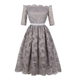 Women Bowknot Lace Dress Plus Size S-4XL Slash Neck Floral Print Half Sleeve Pleated Knee Length Solid New Party Dresses Elegant DK3070MX